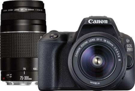 Canon aparat fotograficzny EOS 200D + 18-55 DC III + 75-300 DC III (2250C025AA)