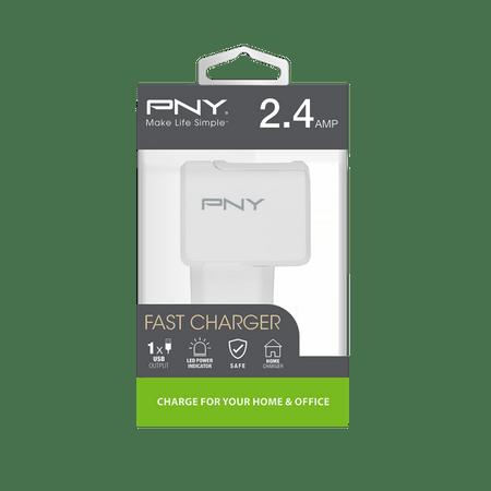PNY Ładowarka sieciowa EU 2.4A (P-AC-UF-WEU01-RB), White