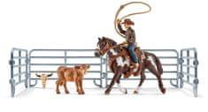 Schleich Kovboj s lasem na koni a příslušenství 41418