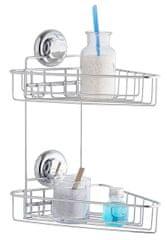 Compactor Dvojitá rohová polička do kúpeľne bez vŕtania
