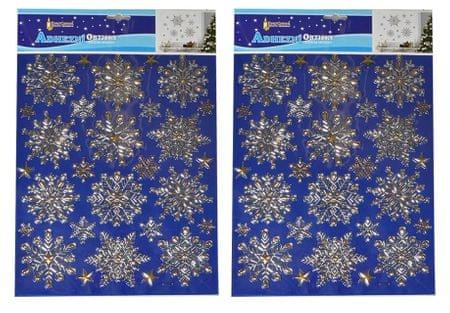 EverGreen świąteczne naklejki na ścianę/okno - małe płatki śniegu, złote