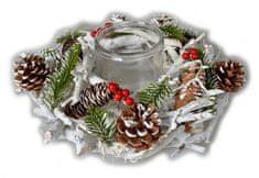EverGreen zaśnieżony wieniec ze świecą, 32 cm