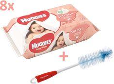 Huggies Vlhčené utierky Soft skin Quatro Pack 8×56 ks + Vileda kefa na dojčenské fľaše
