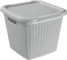 BRILANZ Rattan tároló doboz fedéllel 15 l, 30 x 30 x 27,5 cm