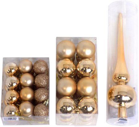 Seizis Vianočné gule 24x 3 cm + 16x 4 cm + špička