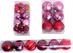 Seizis Vianočné gule 32 ks, červená / ružová