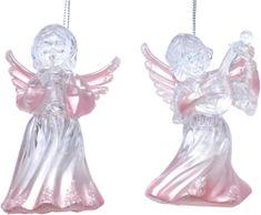 Seizis aniołki 11,5 cm perłowy róż, 2 szt