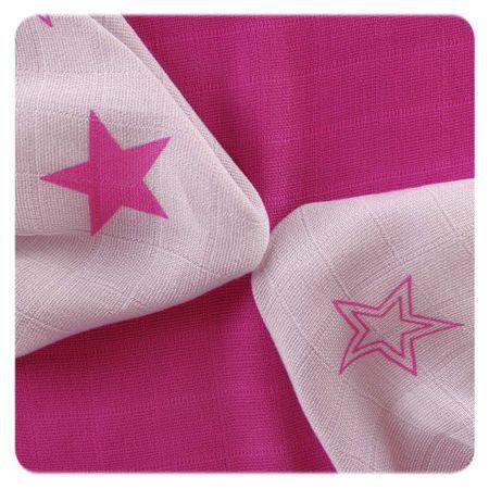 XKKO Bambusové utierky Stars 30x30 cm, 9ks ružová