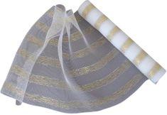 Seizis Dekorační síťka 54x914 cm, bílo-zlatá
