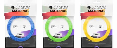 3Dsimo Filament ABS - modrá, zelená, žltá 15m