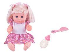 Alltoys Bábika Bambolina s hrebienkom a dojčenskou fľaštičkou 30 cm