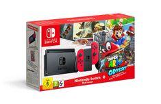Nintendo Switch + Joy-Con červený + Super Mario Odyssey - použité