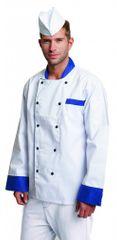 Cerva Kuchársky kabát Rondon Blue dlhý rukáv biela/modrá 46