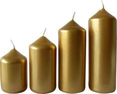 Toro Svíčka adventní zlatá 4 velikosti, průměr 4 cm