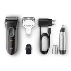 Braun aparat za brijanje Series 3-3000 - crna + trimer nosnih dlačica EN10 Promo