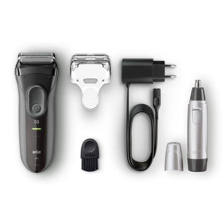 Braun Series 3-3000 brivnik, črn + prirezovalnik nosnih dlačic EN10