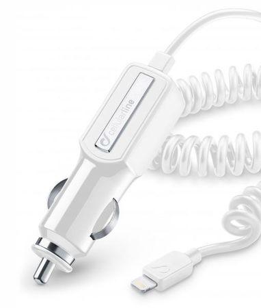 CellularLine auto punjač Lightning s kablom za navijanje 2A, bijeli