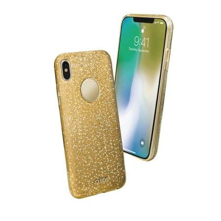 SBS ovitek za iPhone X, zlat z bleščicami