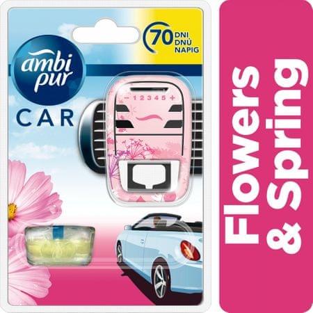 Ambi Pur Car Flowers&Spring csíptetős autóillatosító Kezdőcsomag 7 ml