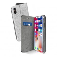 SBS preklopna torbica Sparky za iPhone X, srebrna sa šljokicama