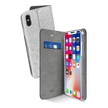 SBS preklopna torbica Sparky za iPhone X, srebrna z bleščicami