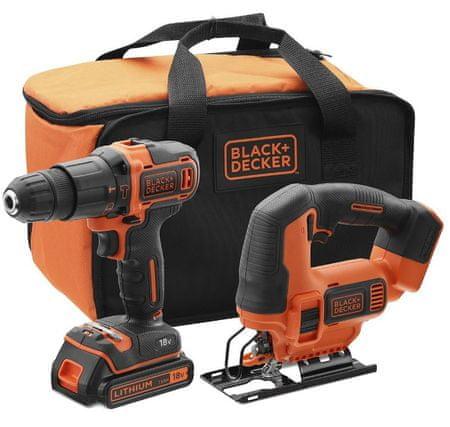 Black+Decker Wiertarka akumulatorowa + wyrzynarka 18V BCK22S1S-QW