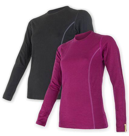 Sensor ženska majica Merino Wool Active dl.ruk., XL, črna + lila