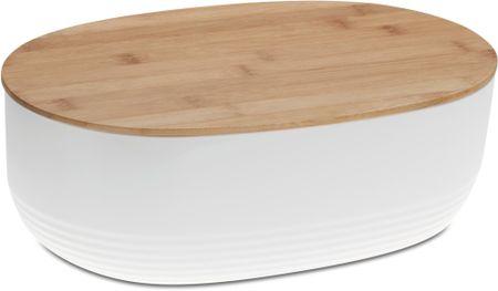 Kela chlebak NAMUR plastik/drewno, biały