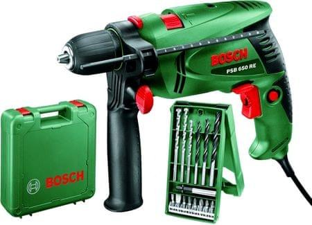 Bosch udarni vrtalnik PSB 650 RE +15-delni pribor (0603128005)