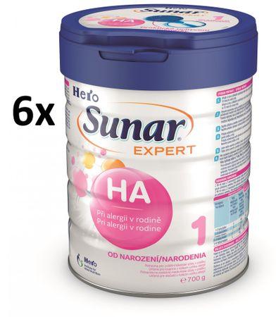 Sunar dojčenské mlieko Expert HA 1+ - 6 x 700g