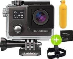 LAMAX športna kamera X8.1 Sirius, z naglavnim trakom, nastavkom za vodo in rezervno baterijo