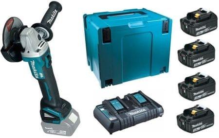 Makita komplet štirih baterij za orodja LXT (3,0 Ah) + kotni brusilnik DGA504Z (198830-2)