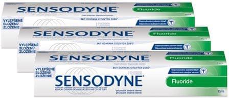 Sensodyne zobna pasta Fluoride, 3 x 75 ml