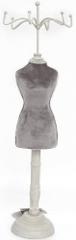 Sifcon Stojánek na šperky - samet - šedý