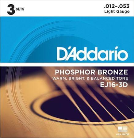 Daddario EJ16-3D Kovové struny na akustickú gitaru