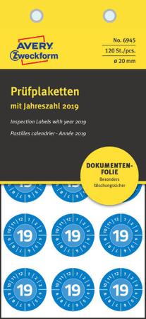 Avery Zweckform kontrolne etikete z letnico 2019, 6945, modra