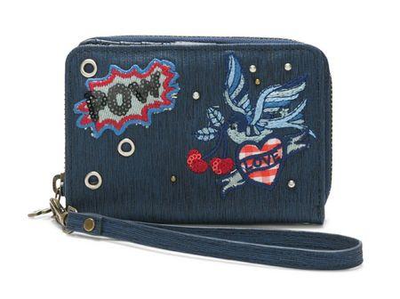 Desigual ženska denarnica temno modra Denim Flowers Magneti