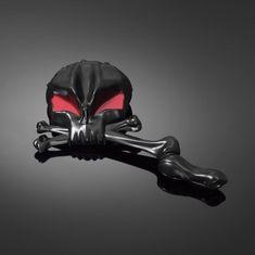Highway-Hawk motocyklová zrcátka  SKULLHEAD, Levá i Pravá strana, černá/červená (2ks)