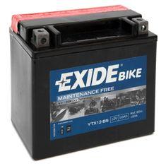 Exide bezúdržbová AGM baterie ETX12-BS, 12V 10Ah, za sucha nabitá. Náplň součástí balení.