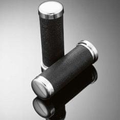 Highway-Hawk kožené gripy 25mm , černá/chrom (2ks)