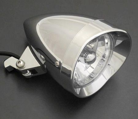 Highway-Hawk hlavné svetlo STARLIGHTna motocykel  s hviezdou pred žiarovkou, E-mark, chróm, (1ks)