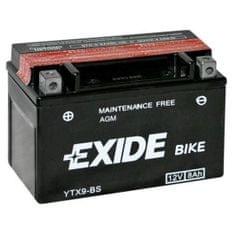 Exide bezúdržbová AGM batérie ETX9-BS, 12V 8Ah, za sucha nabitá. Náplň súčasťou balenia.