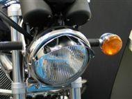 Highway-Hawk štítok pre hlavné svetlo motocykla, d = 180mm, chróm (1ks)