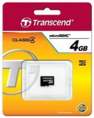 Transcend Micro SDHC spominska kartica, 4 GB (TS4GUSDC4)