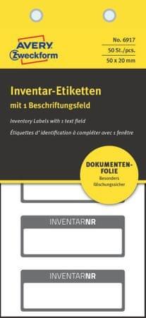 Avery Zweckform etikete za označevanje inventarja, 6917, črna obroba, 50 x 20 mm