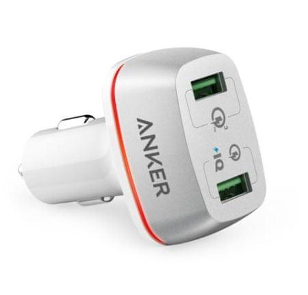 Anker avtopolnilec PowerDrive+ 2 QC 3.0, bel