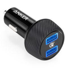 Anker avtopolnilec PowerDrive Speed2 QC 3.0, črn