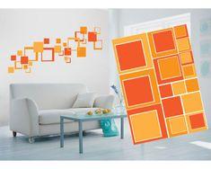 Dimex Dekoračné nálepky na stenu Oranžové štvorce - 50 x 70 cm