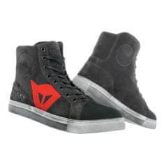 Dainese členkové skúter topánky STREET BIKER D-WP karbón/červené logo