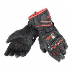 Dainese pánske rukavice na motorku Druids D1 LONG čierna/čierna/fluo červená